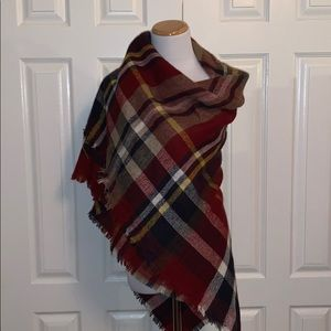 Accessories - Large square plaid wrap/ scarf